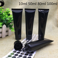 100 pcs Free Shipping 10ml 30ml 50ml 80ml 100ml Empty Black Plastic Tube Bottles Refillable Empty Cosmetic Containers packaging(China)