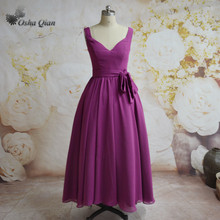Purple Chinese Bridesmaid Dresses Ankle Length Chiffon Vestido dama de honra Brides Maid Dresses Zip Modern Party Dress 2017(China)