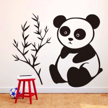It Only Eats Bamboo Baby Panda Wall Stickers For Kids Room Removable Vinyl Decals Lovely Wall Art Home Decoration Accessories(China)