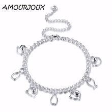 AMOURJOUX Pretty Hollow Cat and Fish Silver Plated Anklets For Women Ankle Bracelet On The Leg Anklet Silver Foot Jewelry Female(China)