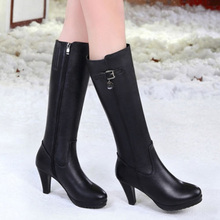 2017 New Genuine Leather Winter Women Knee High Boots With Fur Black Shoes Female High Heels Thigh High Boots batos mujer