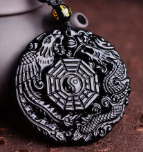 Natural Black Obsidian Hand Carved Chinese Dragon Phoenix BaGua Lucky Amulet Pendant Free Necklace Fashion Fine Jewelry()