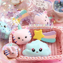 Kawaii Unicorn Cat Face Emoji Cloud Rainbow Star Squishy Slow Rising Cute Soft Squeeze Strap Scented Cake Bread Kid Toy Fun Gift(China)