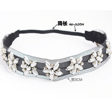Metting Joura Women Girls Bohemian Black Tulle With Pearl Flower Wide Elastic Headband Hair Accessories