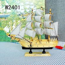 Solid Wooden Sailboat Model Nautical Decor Boat  Living Room Ornaments Toy Gifts Crafts Sailing Ship multi styles