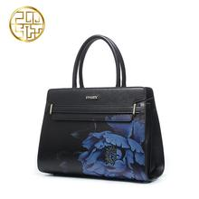 free delivery Split Leather handbags  2016 autumn and winter new Messenger bag Fashion Peony print handbag