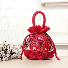 2016 New fashion handmade nylon flower bag women handbags for mom mini tote bag evening clutch bag