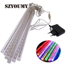 SZYOUMY 50Sets Fedex Meteor Shower Romantic Falling Rain Tube 30cm 8 Tubes 144 LED Xmas Tree Decor Waterproof Durable Light