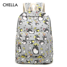 Women Totoro Backpack 3D Printing Girls School Bags Teenager Travel Large Capacity Boys Soft Notebook Backpacks Mochila BP0169(China)
