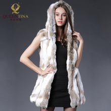 Rabbit Fur Vest Hooded Sexy Genuine Rabbit Fur Gilet Winter Real Fur Jacket For Women Fashion Real Rabbit Fur Coats Sleeveless