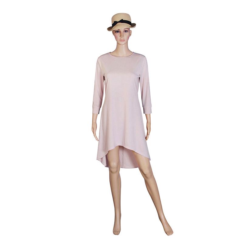 Fashion Women Dresses 2017 Sexy Loose Mini Irregular O-Neck Dress Summer Casual Elegant Dresses Plus Size LJ8789X 7