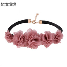 imixlot New Arrivals Eueropean Style Red Flower Velvet Choker Necklace Wide Gothic Lace Ribbon Necklaces For Women fashion Jewel