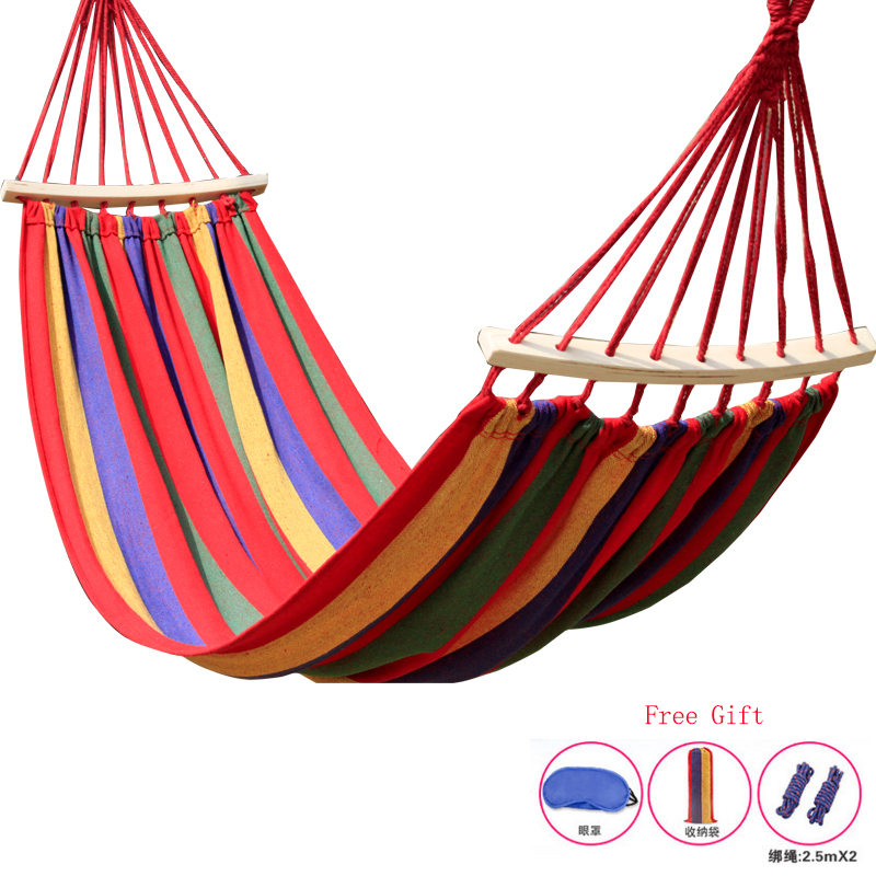 200*80cm bearing 150kg outdoor camping swing thickening large casual canvas hammock<br>