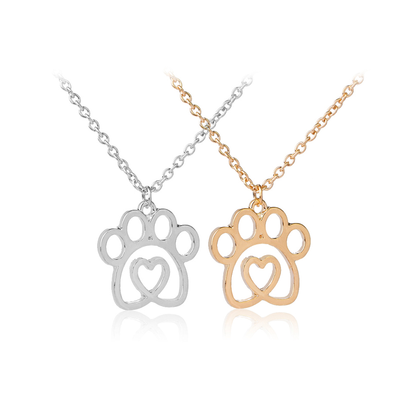 5 Style Heart with Paw Cutout Pendant Necklace Pet Dog Cat Bear Puppy Paw Print Heart Keepsake Memorial For My Pet Dropshipping
