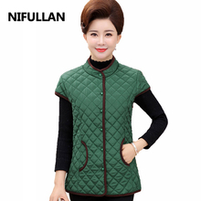 NIFULLAN Plaid Quilted Vests 2017 Fall Winter Women Coat Plus Size Solid Waistcoat Sleeveless Cotton-Padded Mother Warm Outwear(China)
