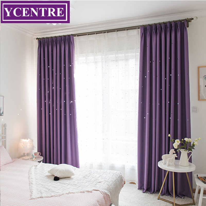 YCENTRE Laser Cutting Stars Purple Blackout Curtain Thermal Insulated Out Star Window Treatment for Kids/ Living Room /Bed Room