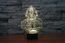 2017 3D Popular Four Hand figure huge smiling Buddha Lamp seated on enormous lotus flower night Light Gifts Illusion Home Decor