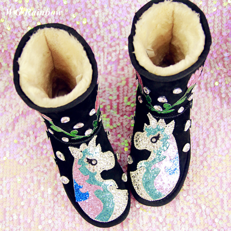 Womens Winter Boots 2015 Genuine Leather Customized Handmade Rhinestones Diamond Bling Womens Warm Snow Boots Wedge Shoes<br><br>Aliexpress