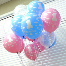 20Pcs/lot Balloons for Baby 1st First Birthday Celebration Girl Boy Printed Number 1 Children Birthday Party Decoration