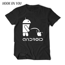 Fashion Men T Shirts Android Robot Male t-shirt apple humor logo printed funny t shirt short sleeve Camiseta Masculino tees(China)