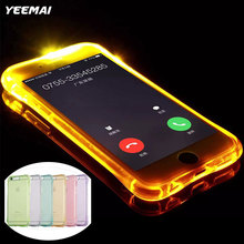 LED Flash Lighting Up Phone Case for Apple iPhone 5 5S SE X 6 7 6S 8 Plus Remind Incoming Call Light Soft TPU Transparent Cover