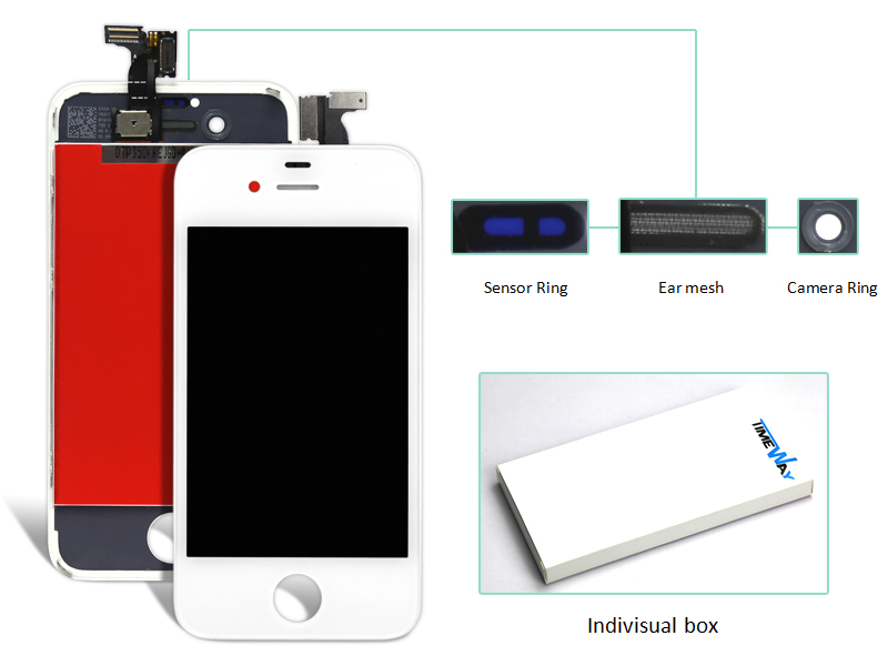 DHL 10pcs LCD touch Screen Digitizer Glass Assembly + front screen for iPhone 4G (camera ring+ear mesh+sensor ring)<br><br>Aliexpress