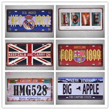 "[Live Wall Art] Pub Sign license plate""Real Madrio, Barcelona,Keep Calm Carry On, New York ,California"" Bar decor 15x30CM"