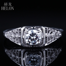 HELON 4.5mm Round 0.4ct Moissanites Ring Solid 14k White Gold Women's Antique Vintage Art style Engagement Wedding Jewelry Ring(China)