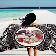 150*100cm Beach Towel Skull Rose Printed Pattern Bikini Shawl Girls Bath Towel Summer Outdoor Sun Block Yoga Cushion QB985617