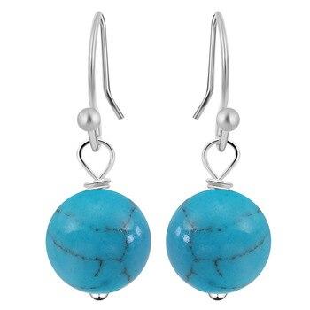 1Pair Natural Stone Hook Earring Ball Earrings for Women Earrings Set omen Brincos Bijoux Jewelry from India