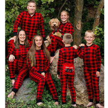 Christmas Parent-child Sleep Jumpsuit Xmas Family Matching Pajamas Set Bear  Red Plaid Long Sleeve bbd4dd0bb