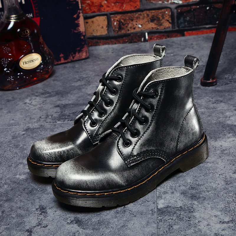Cow Muscle Women Boots Leather School Style Lace Up Women Shoes For Girls Red Black Motorcycle Ankle Boots<br>