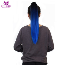 Neverland 50cm 9 Colors Clip On Hair Extensions Synthetic Hairpiece Straight Blue Ombre Two Tone Claw Ponytails Hair Tail(China)