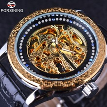 Forsining Chinese Style Diamond Display Golden Mosaics Bezel Male Watches Luxury Brand Automatic Skeleton Fashion Wrist Watch(China)