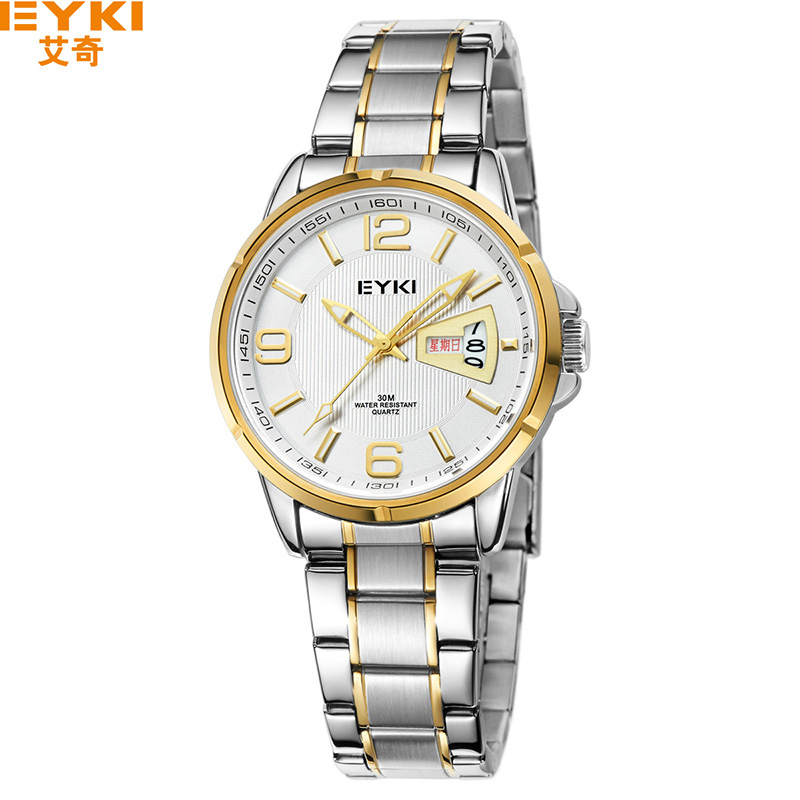 Mens Watches Stainless Steel Band Luxury Big Golden Dial Man Wristwatch Male Clock Classic Business Quartz-watch Meskie Zegarki<br>