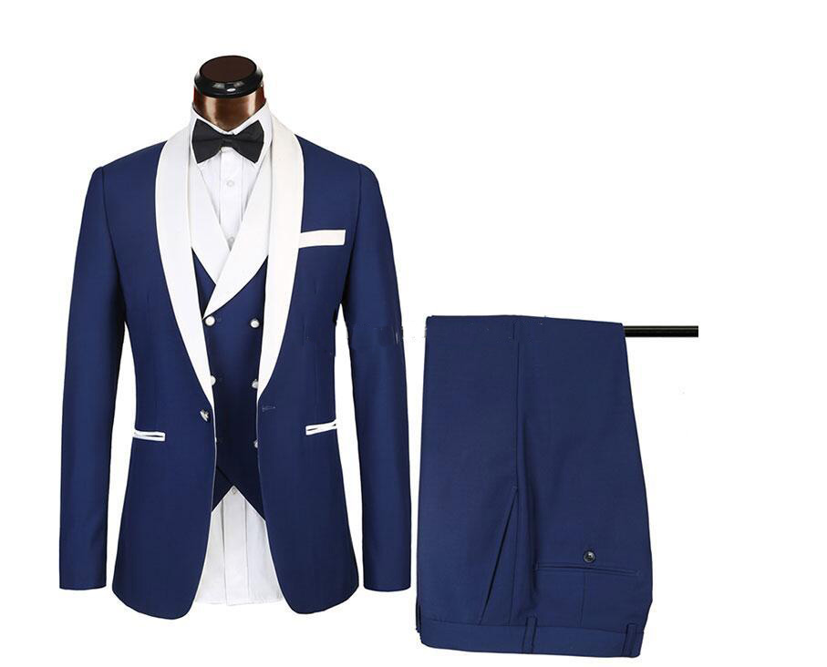 Blue Men Wedding Suits 2019 New Brand Fashion Design Real Groomsmen White Shawl Lapel Groom Tuxedos Mens Tuxedo Wedding Suits