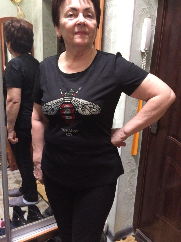 Rhinestone T Shirt Bee Blingbling Crystal Women Top Tees (Us 2-18W)