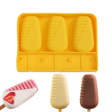 DINIWELL 1 PCS Original Ice Cream Mould With 20CS Stick Silicone Molds 3 Cavities Half Stripe Shaped Fun(China)