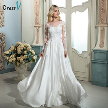 Dressv white vintage scoop neck A-line long wedding dress long sleeves appliques sweep train outdoor wedding dress bridal dress