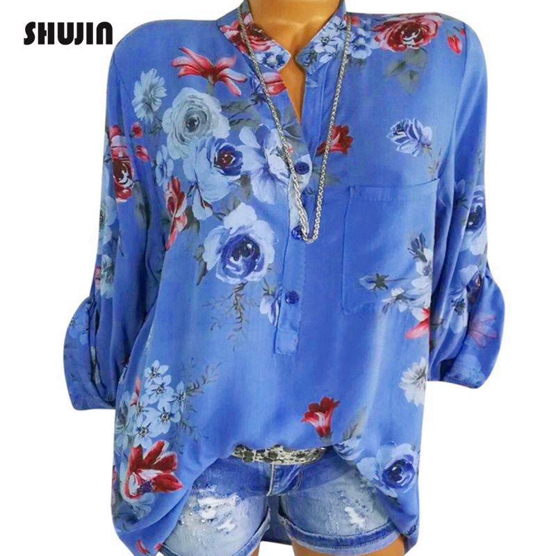SHUJIN 2018 Women Loose Floral Print Blouses Tops Spring Long Sleeve V-Neck Casual Shirts Ladies Blusas Plus size 5XL Camisas(China)