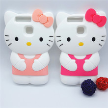 New 3D Cartoon Bowknot Hello Kitty Case Soft Silicon Back Cover for Huawei Ascend P9 & P9lite P9 Lite P9 mini Rubber Phone Shell