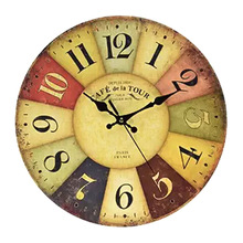 Vintage 12 Inch Vintage Wall Clock France Paris Colourful French Country Style Non-Ticking Silent Paris Wood Wall Clock 2016 Hot