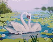 DIY Painting By Numbers Kits By Numbers Wall Decor Lotus pond swans interior renovation Paint On Canvas Painitng(China)