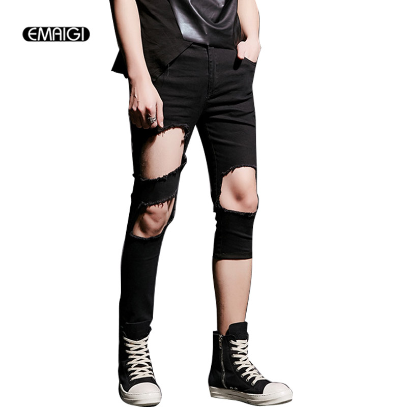 Stage Costume Asymmetry Hole Men Slim Fit Jeans Punk Hiphop Gothic Foot Beggar Denim Pencil Pants Jeans Trouser K520Îäåæäà è àêñåññóàðû<br><br>
