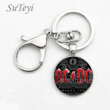 SUTEYI Classical pop rock band ACDC logo Zinc Alloy keychain fashion keychain Men Cars keychain AC/DC Souvenirs Gifts