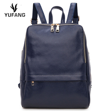 YUFANG Women Daily Bag Natural Leather Women's Backpack Brand Designer Laptop Backpack Solid School Bag Genuine Leather Bag
