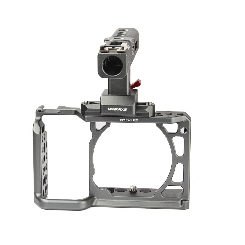 productimage-picture-waraxe-a6-kit-camera-cage-with-nato-rail-handle-grip-for-sony-ilce-6000-ilce-6300-ilce-a6500-with-1-4-and-3-8-threaded-holes-cold-shoe-base-97618