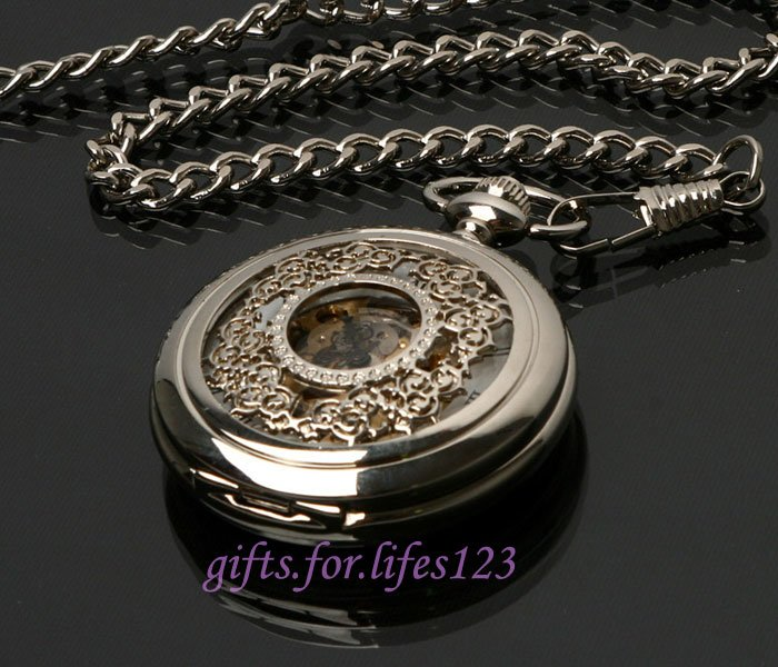 Mechanical Classic Silver Flower Carving Pocket Watch<br><br>Aliexpress