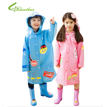 2017 Environmental Candy Color Cute Cartoon Children Raincoat Kids Scalable Rain Poncho Suit for Student Raincoat Free Shipping