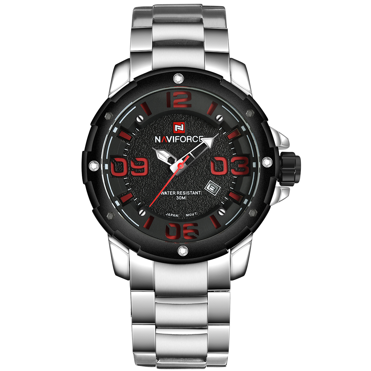NAVIFORCE Military Mens Watch Waterproof Quartz Stainless Steel Saat Calendar Number Big Dial Outdoor Sport Wrist Watch Big Face<br>